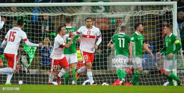 Belfast Ireland 9 November 2017 Ricardo Rodríguez of Switzerland celebrates with Xherdan Shaqiri of Switzerland after scoring his side's first goal...