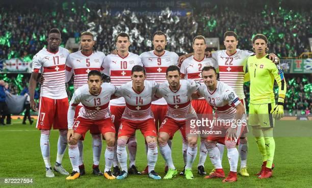 Belfast Ireland 9 November 2017 Switzerland team prior to the FIFA 2018 World Cup Qualifier Playoff 1st leg match between Northern Ireland and...