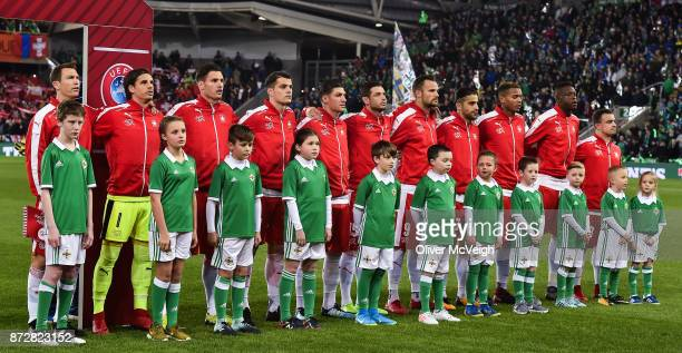 Belfast Ireland 9 November 2017 The Switzerland team before the FIFA 2018 World Cup Qualifier Playoff 1st leg match between Northern Ireland and...