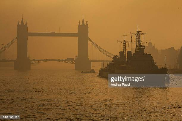 HMS Belfast is a museum ship originally a Royal Navy light cruiser permanently moored in London on the River Thames Near the Tower Bridge...