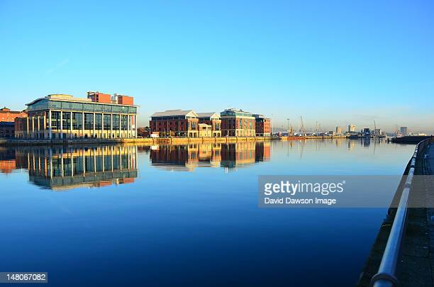 Belfast Lough buildings early morning