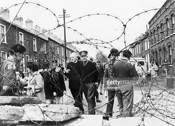 Belfast Northern Ireland Northern Ireland's Chief of Staff Major General Tony Dyball inspects a Roman Catholic barricade in Falls Road district Sept...