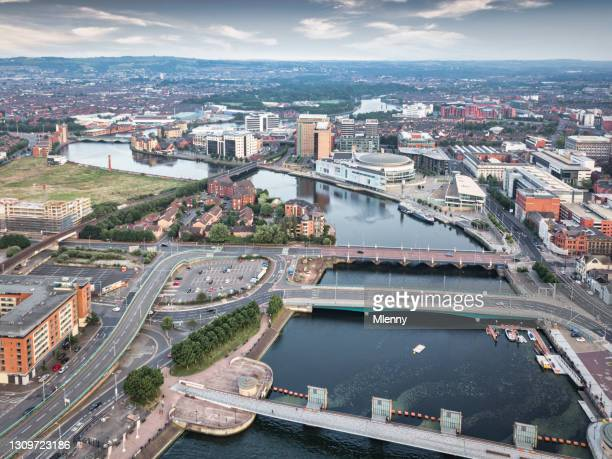 belfast northern ireland river lagan weir bridge aerial view - belfast stock pictures, royalty-free photos & images
