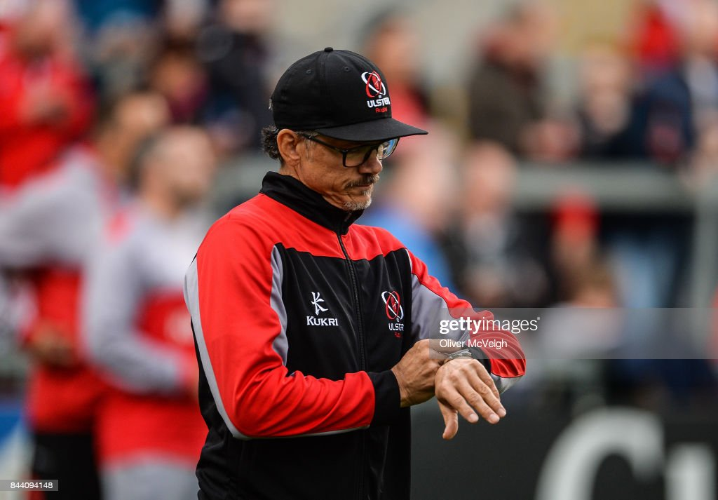 Belfast , United Kingdom - 1 September 2017; Director of Ulster Rugby Les Kiss looking at his watch during the Guinness PRO14 Round 1 match between Ulster and Cheetahs at Kingspan Stadium in Belfast.
