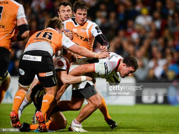 Belfast United Kingdom 1 September 2017 Rob Herring of Ulster is tackled by Torsten van Jaarsveld of Cheetahs during the Guinness PRO14 Round 1 match...