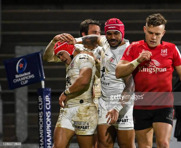Belfast , United Kingdom - 11 December 2020; Cheslin Kolbe of Toulouse, left, is congratulated by team-mates after scoring his side's fourth try...