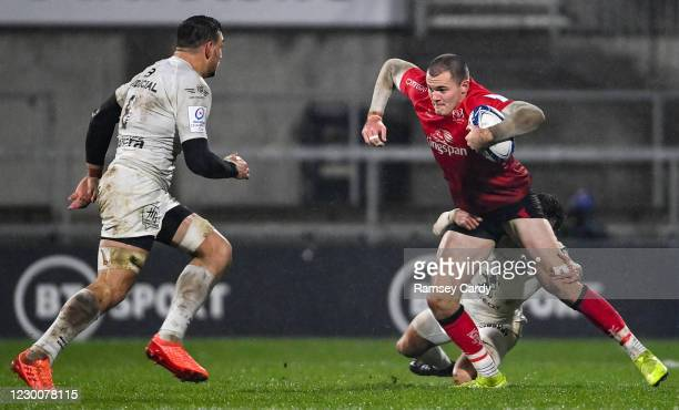 Belfast , United Kingdom - 11 December 2020; Jacob Stockdale of Ulster is tackled by Maxime Médard of Toulouse during the Heineken Champions Cup Pool...