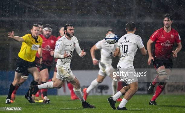 Belfast , United Kingdom - 11 December 2020; Maxime Médard, left, and Thomas Ramos of Toulouse during the Heineken Champions Cup Pool B Round 1 match...