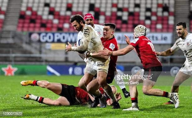 Belfast , United Kingdom - 11 December 2020; Maxime Médard of Toulouse is tackled by James Hume of Ulster during the Heineken Champions Cup Pool B...