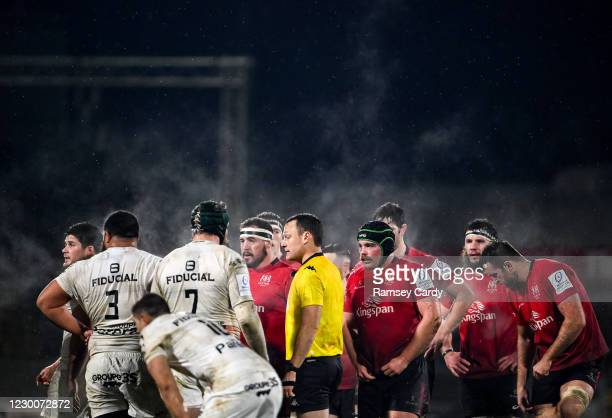 Belfast , United Kingdom - 11 December 2020; Players from both sides prepare for a scrum during the Heineken Champions Cup Pool B Round 1 match...