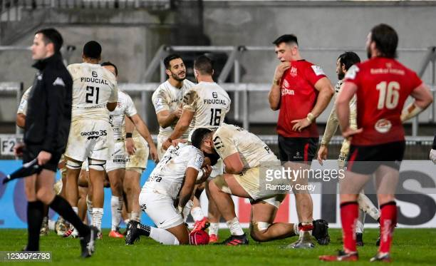 Belfast , United Kingdom - 11 December 2020; Players from both sides react following the Heineken Champions Cup Pool B Round 1 match between Ulster...