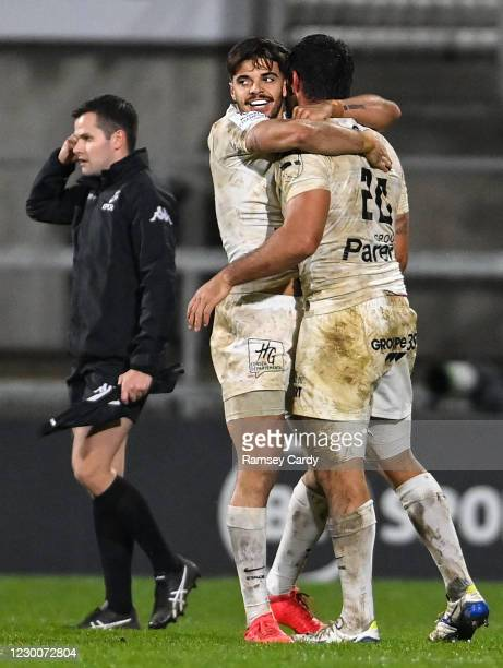 Belfast , United Kingdom - 11 December 2020; Romain Ntamack, left, and Louis Madaule of Toulouse celebrate following the Heineken Champions Cup Pool...