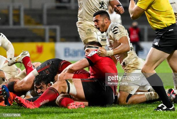 Belfast , United Kingdom - 11 December 2020; Rory Arnold of Toulouse celebrates scoring a try during the Heineken Champions Cup Pool B Round 1 match...