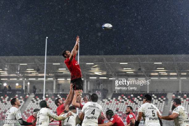 Belfast , United Kingdom - 11 December 2020; Sam Carter of Ulster wins possession in the lineout during the Heineken Champions Cup Pool B Round 1...