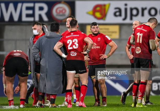 Belfast , United Kingdom - 11 December 2020; Ulster players dejected following the Heineken Champions Cup Pool B Round 1 match between Ulster and...