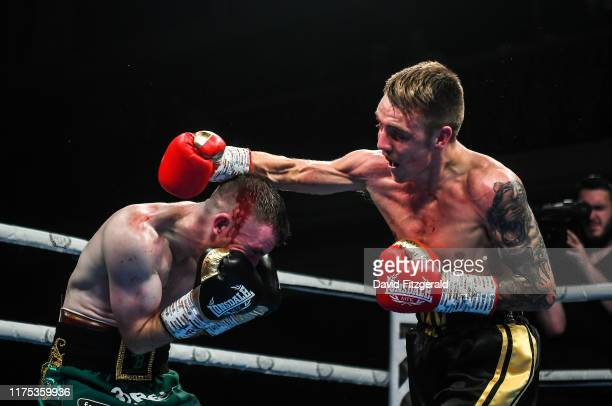 Belfast United Kingdom 11 October 2019 Jay Harris right in action against Paddy Barnes during their IBF intercontinental flyweight title bout at the...