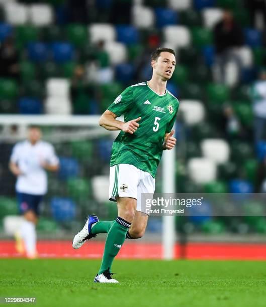 Belfast , United Kingdom - 12 November 2020; Jonny Evans of Northern Ireland during the UEFA EURO2020 Qualifying Play-Off Final match between...