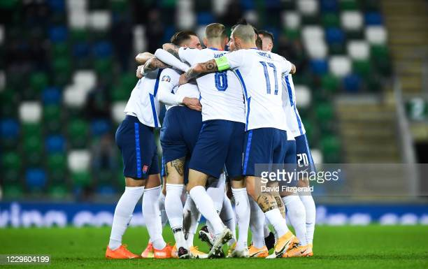 Belfast , United Kingdom - 12 November 2020; Slovakia players celebrate their side's first goal scored by Juraj Kucka during the UEFA EURO2020...