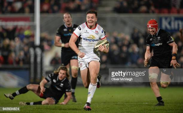 Belfast United Kingdom 13 April 2018 Jacob Stockdale of Ulster on his way to scoring his side's first try in the final minute of the Guinness PRO14...