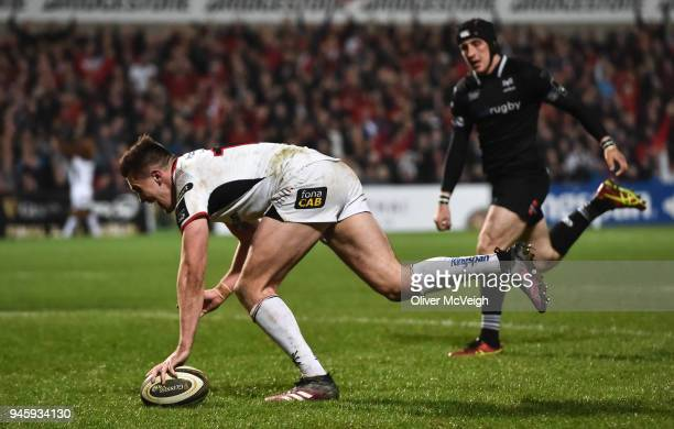 Belfast United Kingdom 13 April 2018 Jacob Stockdale of Ulster scores his side's first try in the final minute of the Guinness PRO14 Round 20 match...