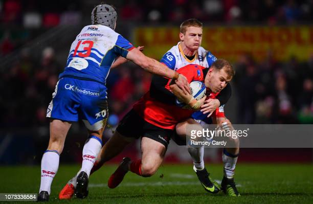 Belfast United Kingdom 14 December 2018 Will Addison of Ulster is tackled by Johnny McNicholl of Scarlets during the European Rugby Champions Cup...