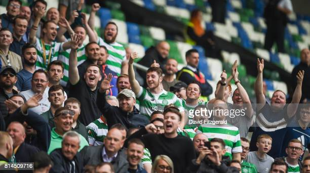 Belfast United Kingdom 14 July 2017 Celtic supporters during the UEFA Champions League Second Qualifying Round First Leg match between Linfield and...