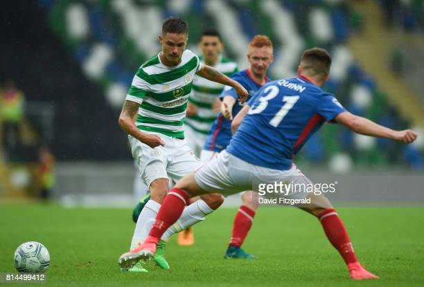 Belfast United Kingdom 14 July 2017 Erik Sviatchenko of Celtic in action against Niall Quinn of Linfield during the UEFA Champions League Second...
