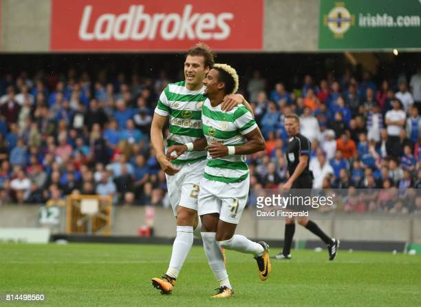 Belfast United Kingdom 14 July 2017 Scott Sinclair of Celtic right celebrates after scoring his side's first goal with teammate Mikael Lustig during...