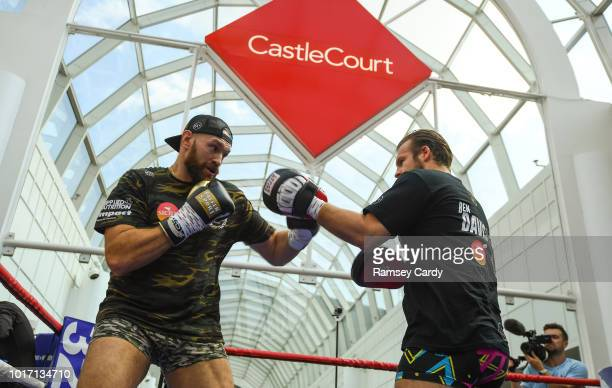 Belfast United Kingdom 15 August 2018 Cristofer Rosales during the public workouts at the Castlecourt Shopping Centre in Belfast