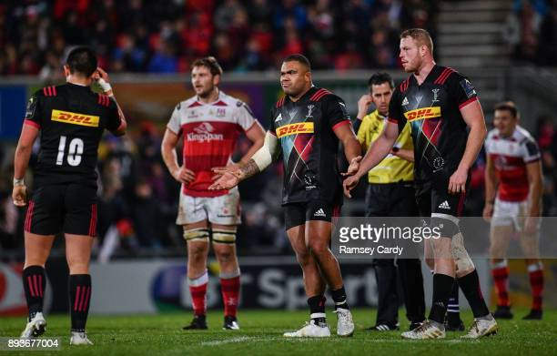 Belfast United Kingdom 15 December 2017 Kyle Sinckler of Harlequins reacts after receiving a yellow card during the European Rugby Champions Cup Pool...