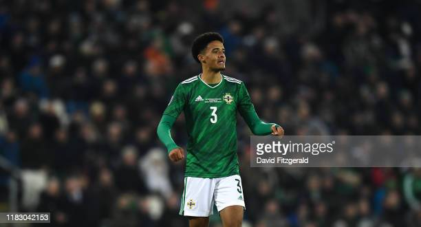 Belfast , United Kingdom - 16 November 2019; Jamal Lewis of Northern Ireland during the UEFA EURO2020 Qualifier - Group C match between Northern...