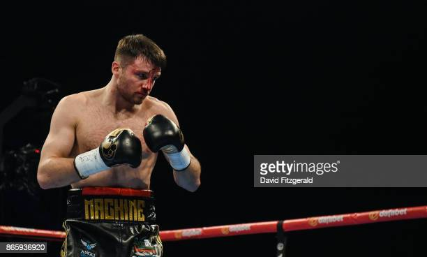 Belfast United Kingdom 21 October 2017 Anthony Fowler during his SuperWelterweight bout against Laszlo Fazekas at the SSE Arena in Belfast