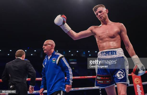 Belfast United Kingdom 21 October 2017 Joe Fitzpatrick celebrates after defeating Mwenya Chisanga in their Lightweight bout at the SSE Arena in...