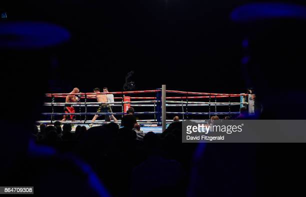 Belfast United Kingdom 21 October 2017 Members of the PSNI watch on during the SuperWelterweight bout between Anthony Fowler and Laszlo Fazekas at...