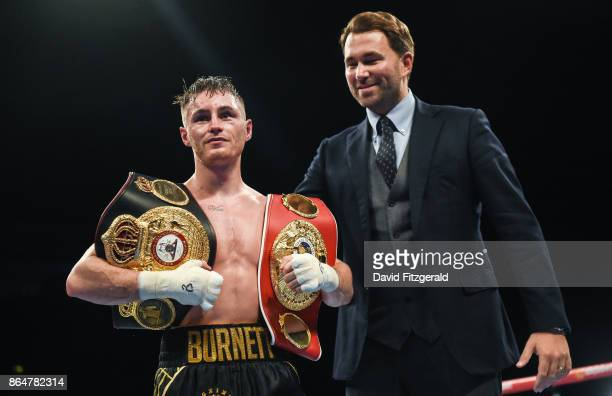 Belfast United Kingdom 21 October 2017 Ryan Burnett alongside Matchroom Promoter Eddie Hearn after winning his WBA Super World Bantamweight...