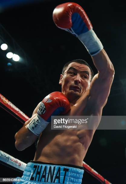Belfast United Kingdom 21 October 2017 Zhanat Zhakiyanov during his IBF WBA Super World Bantamweight Championship bout against Ryan Burnett at the...