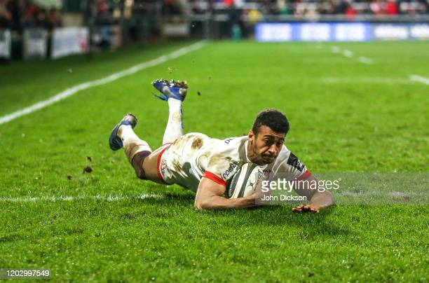 Belfast , United Kingdom - 22 February 2020; Robert Baloucoune of Ulster scores his side's second try during the Guinness PRO14 Round 12 match...