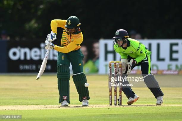 Belfast , United Kingdom - 22 July 2021; Quinton de Kock of South Africa is put out due to LBW from Simi Singh of Ireland during the Men's T20...