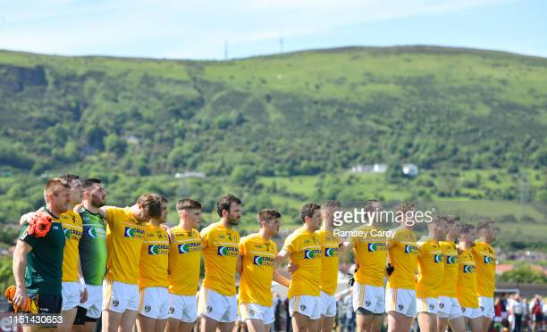 Belfast United Kingdom 22 June 2019 The Antrim team during the National Anthem ahead of the GAA Football AllIreland Senior Championship Round 2 match...