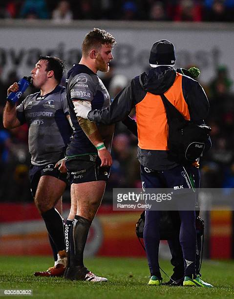 Belfast , United Kingdom - 23 December 2016; Finlay Bealham of Connacht after picking up an injury during the Guinness PRO12 Round 11 match between...