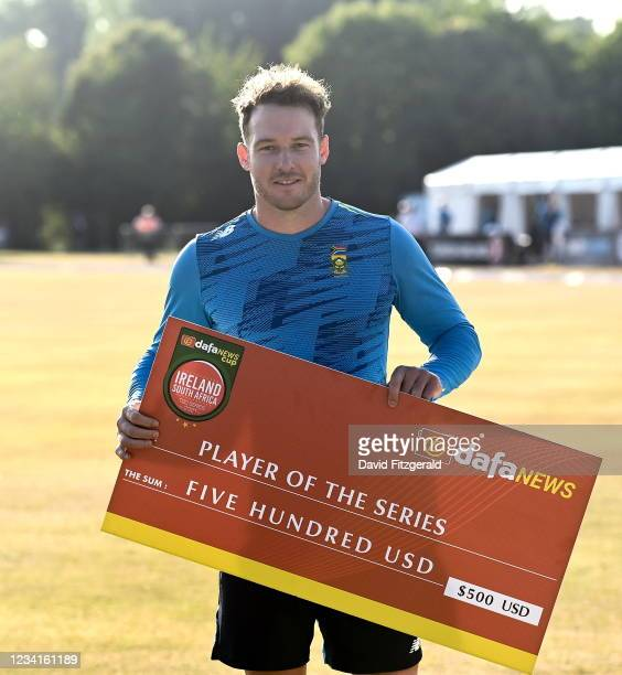 Belfast , United Kingdom - 24 July 2021; David Miller of South Africa with the player of the series award after they won the Men's T20 International...