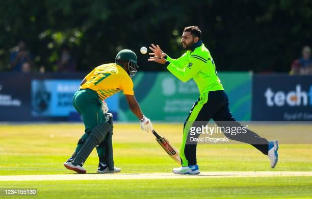 Belfast , United Kingdom - 24 July 2021; Simi Singh of Ireland during the Men's T20 International match between Ireland and South Africa at Stormont...