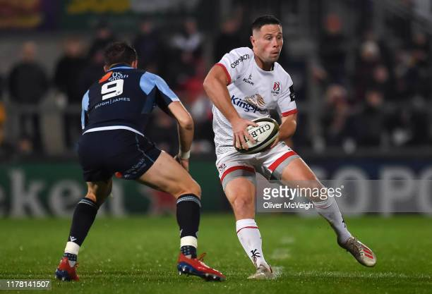 Belfast United Kingdom 25 October 2019 John Cooney of Ulster in action against Lloyd Williams of Cardiff Blues during the Guinness PRO14 Round 4...