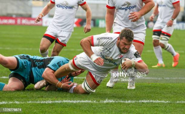 Belfast , United Kingdom - 25 October 2020; Sean Reidy of Ulster dives over to score a try during the Guinness PRO14 match between Ulster and Dragons...