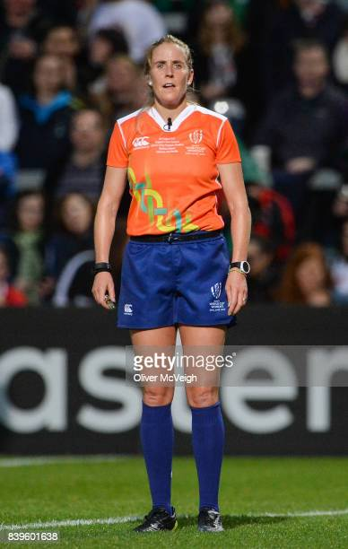 Belfast United Kingdom 26 August 2017 Referee Joy Neville during the 2017 Women's Rugby World Cup Final match between England and New Zealand at...