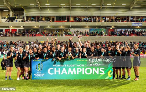 Belfast United Kingdom 26 August 2017 Saturday 26th August 2017 New Zealand celebrate after winning the 2017 Women's Rugby World Cup Final at...