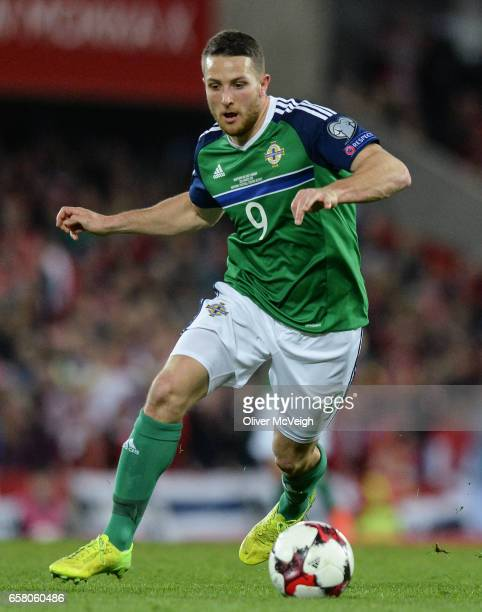 Belfast United Kingdom 26 March 2017 Conor Washington of Northern Ireland in action during the FIFA World Cup Qualifer Group C match between Northern...