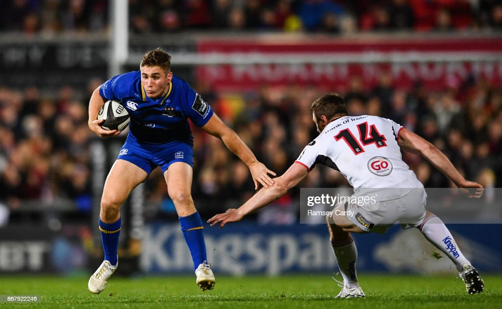 Belfast , United Kingdom - 28 October 2017; Jordan Larmour of Leinster in action against Tommy Bowe of Ulster during the Guinness PRO14 Round 7 match between Ulster and Leinster at the Kingspan Stadium in Belfast.