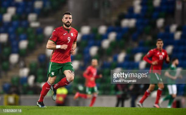 Belfast , United Kingdom - 31 March 2021; Andrej Galabinov of Bulgaria during the FIFA World Cup 2022 qualifying group C match between Northern...