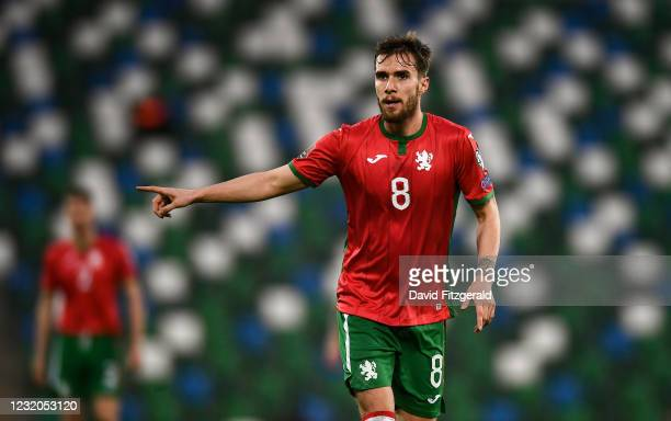 Belfast , United Kingdom - 31 March 2021; Antonio Vutov of Bulgaria during the FIFA World Cup 2022 qualifying group C match between Northern Ireland...